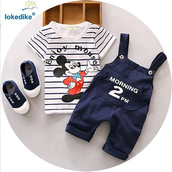 Cartoon Mouse Baby Boy Clothing Set 2016 New Toddler Boys Clothing Sets Summer Fashion Kids Clothes T-shirt+Suspender Pants T548
