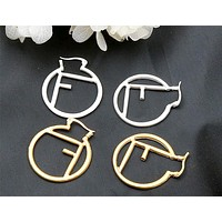 Fendi new personality F letter asymmetric earrings circle earrings