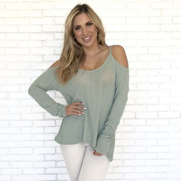 Sage Knit Cold Shoulder Sweater Top
