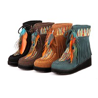 Women Tassel Short Boots Wedge Heel Plus Size Autumn and Winter Shoes 7825