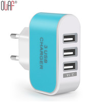 EU Plug 3 Ports Multiple Wall USB Smart Charger Adapter For Xiaomi 5V 3A LED Light Fast Charging For iPhone 7 6 6plus 6s 5 5c 5s