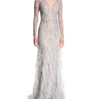 Monique Lhuillier Embellished Long-Sleeve Illusion Evening Gown w/ Feather Skirt