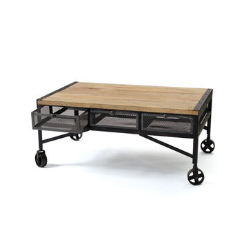 Wood Coffee Table with Castors