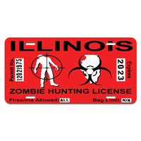 Illinois IL Zombie Hunting License Permit Red - Biohazard Response Team Novelty License Plate