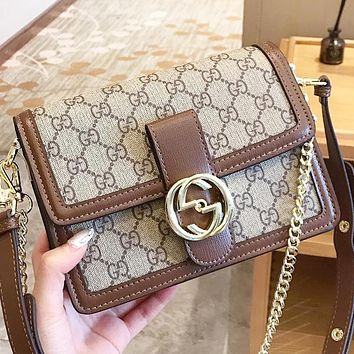 GUCCI New fashion more letter leather chain women shoulder bag crossbody bag
