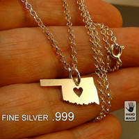 OKLAHOMA PURE silver .999 State pendant sterling  by StefanoArt