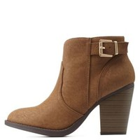Taupe Back-Belted Chunky Heel Booties by Charlotte Russe