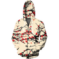 Floral Cherry Blossom Zip Up Hoodie
