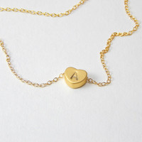 Small gold initial heart necklace, gold necklace, heart necklace, love necklace, initial necklace, minimalist necklace personalised necklace