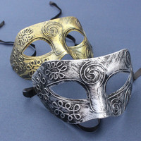 Men Vintage Roman Silver Face Mask [6283862790]