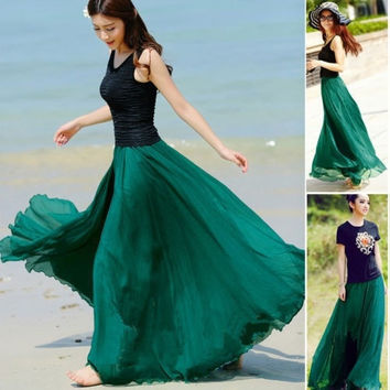 NEW Women Double Layer Chiffon Pleated Retro Long Maxi Dress Elastic Waist Skirt = 1946995652