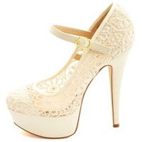 Crochet Lace Mary Jane Platform Pumps by Charlotte Russe - Beige