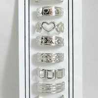 Set of 10 Assorted Silver Tone Toe Rings
