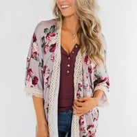 Thought Of You Crochet Floral Kimono- Light Mauve