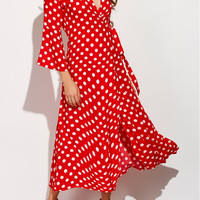 Polka Dot Bell Sleeve Wrap Maxi Dress