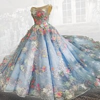 Festival of Love Appliques in Blue Lace Ballroom Gown