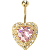14G Steel Big Pink Bling Heart Curved Navel Barbell