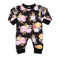Newborn Baby Girls Clothing Romper Long Sleeve Cotton Cute Flower Jumpsuit Outfit Sunsuit Clothes Autumn Baby Girl 0-24M