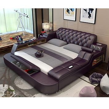 Leather Bed Frame With Massager and Speaker
