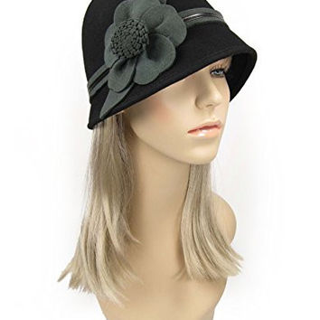1920's Style Wool Cloche Bucket Hat with Flower Black ((One Size (56 cm - 60 cm))