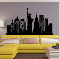 New York City Skyline Wall Decal NYC Silhouette New York Wall Decals Statue Of Liberty Office Living Room NYC Wall Art Home Decor C126
