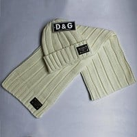 D&G Dolce & Gabbana autumn and winter new men and women scarf hat two-piece F0908-1 Beige