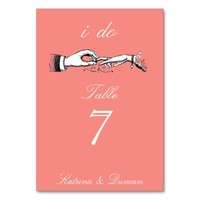 I Do Vintage Wedding Ring Coral Table Card