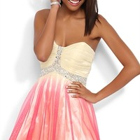 Dress with Glitter Ombre Skirt and Cut Out Back