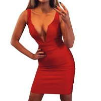 Women Red Summer Sexy Dress V Neck Sleeveless Sexy Stretchy Beach Dress Party Mini dresses woman party night vestidos 2019