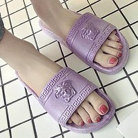 Versace Trending Woman Men Stylish Medusa Slipper Sandals Shoes Purple