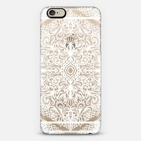 Lacy White Pattern on Crystal Transparent iPhone 6 case by Micklyn Le Feuvre | Casetify