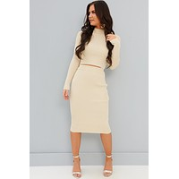Have No Doubt Ribbed Knit Midi Two Piece Set (Taupe)
