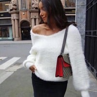 Knit Tops Winter V-neck Sexy Sea Strapless Sweater [510306123830]