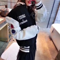 """Louis Vutitton"" Women Fashion Casual Multicolor Letter Embroidery Long Sleeve Cardigan Jacket Coat Baseball Clothes"