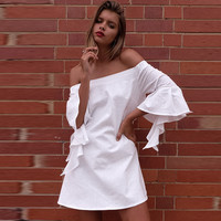 Strapless Ruffle Sleeves Dress