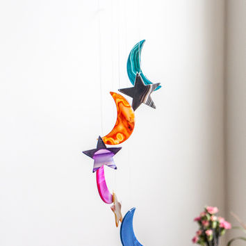 Moon and Star Agate Windchime