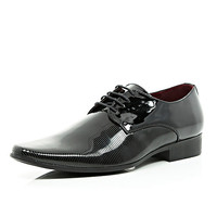 River Island MensBlack textured patent formal shoes
