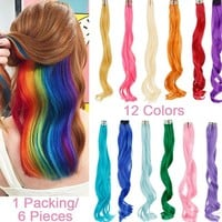 20 Inch 12 Colors Available Long Curly Wavy Highlight Hair Clip in Hair Extensions 6 Pieces