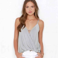 V-Neck Strap Wrap Tank Top
