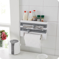Refrigerator cling film rack shelf with cutting device cling film storage rack wall hanging paper towel holder