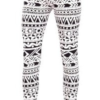 White Black Ladies Vibrant Print Leggings:Amazon:Clothing