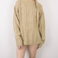 Vintage 70s Beige Cable Knit Sweater