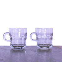 Vintage Glass Coffee Cups Libbey Small Demitasse Style Espresso Glassware with Handles - Libbey Duratuff USA - Set of Two