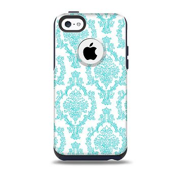 The White & Teal Damask Pattern Skin for the iPhone 5c OtterBox Commuter Case