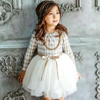 2018 High Quality Girls Autumn Winter Dress Houndstooth Girls Princess Dresses kids clothes Girl Casual Children Dress CE032