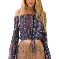 Boho Off Shoulder Blouse Tie Up Crop Top Cropped Long Sleeve Loose Striped Tribal Print Retro Ladies Plus Size Free Shipping