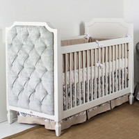 Beverly Crib with Versailles Silver Tufted Panels