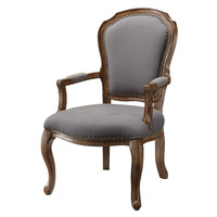 Crestview Collection Providence Wood Accent Chair W/ Grey Linen And Nailhead Trim