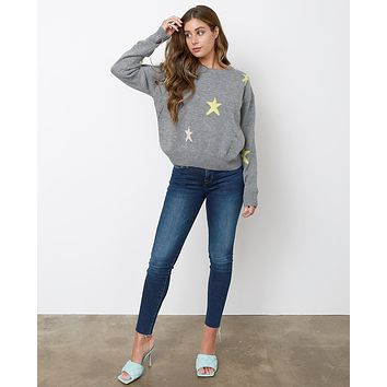 Lucky Star Sweater Top - Heather Gray