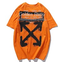 Off White New fashion embroidery letter arrow print couple top t-shirt Orange